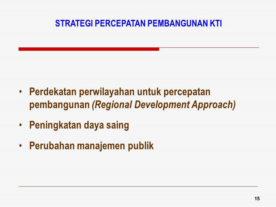 15 Perdekatan perwilayahan untuk percepatan pembangunan (Regional Development Approach) Peningkatan daya saing Perubahan manajemen publik STRATEGI PER