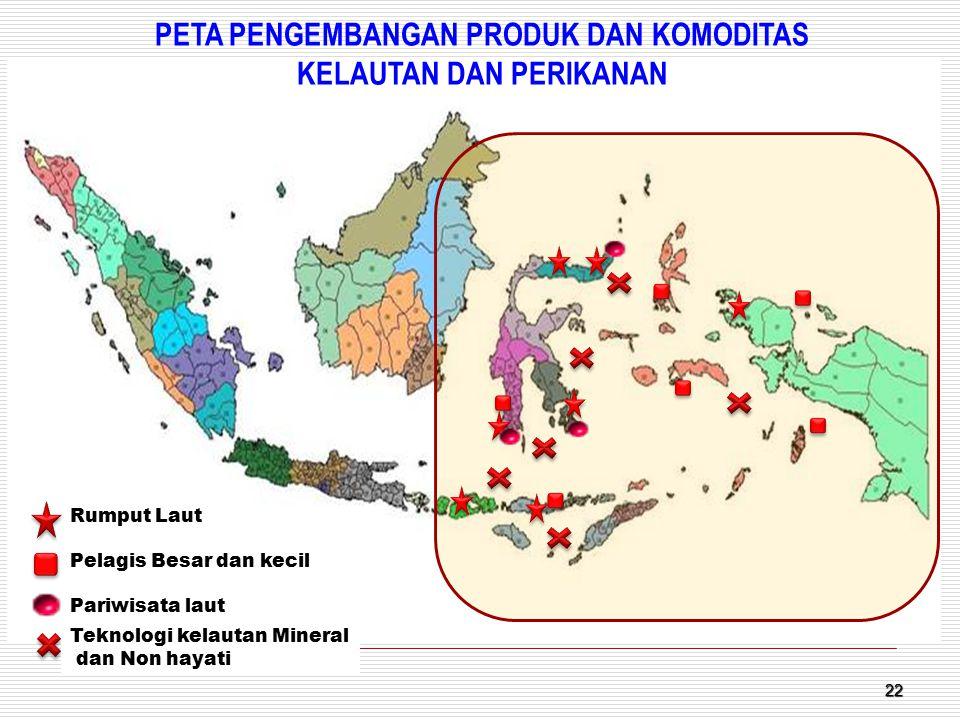 22 Rumput Laut Pelagis Besar dan kecil Pariwisata laut Teknologi kelautan Mineral dan Non hayati PETA PENGEMBANGAN PRODUK DAN KOMODITAS KELAUTAN DAN P
