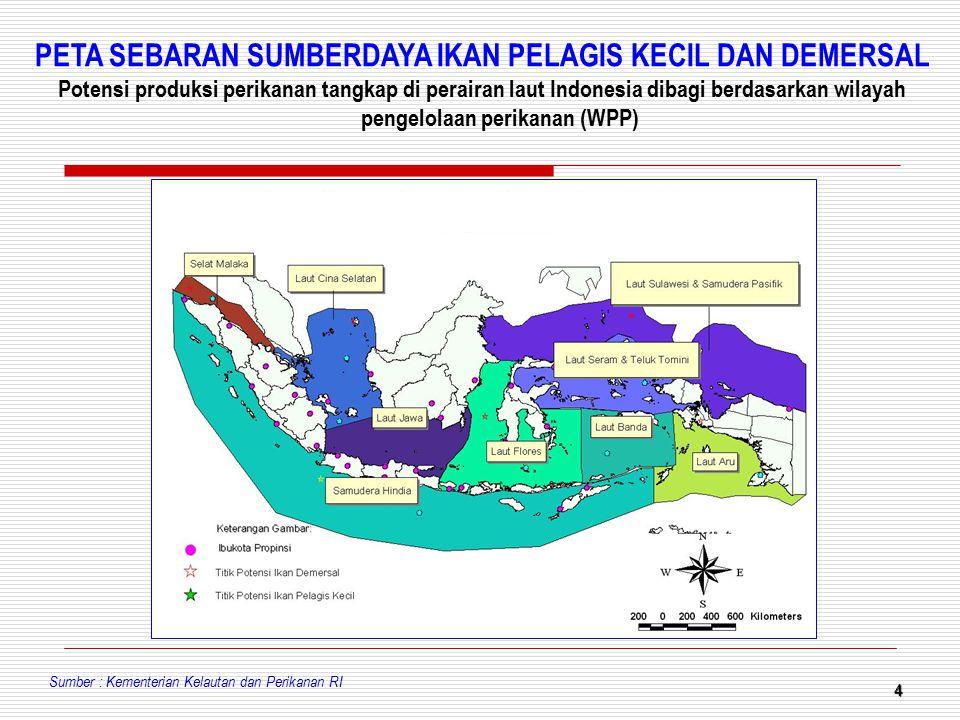 4 Sumber : Kementerian Kelautan dan Perikanan RI PETA SEBARAN SUMBERDAYA IKAN PELAGIS KECIL DAN DEMERSAL Potensi produksi perikanan tangkap di peraira