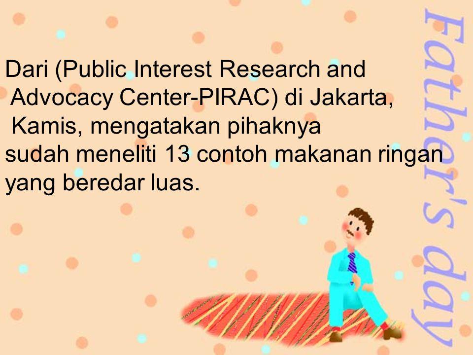 Dari (Public Interest Research and Advocacy Center-PIRAC) di Jakarta, Kamis, mengatakan pihaknya sudah meneliti 13 contoh makanan ringan yang beredar