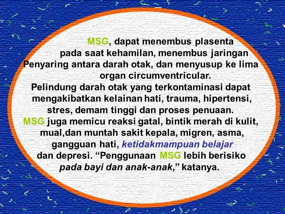 MSG, dapat menembus plasenta pada saat kehamilan, menembus jaringan Penyaring antara darah otak, dan menyusup ke lima organ circumventricular. Pelindu