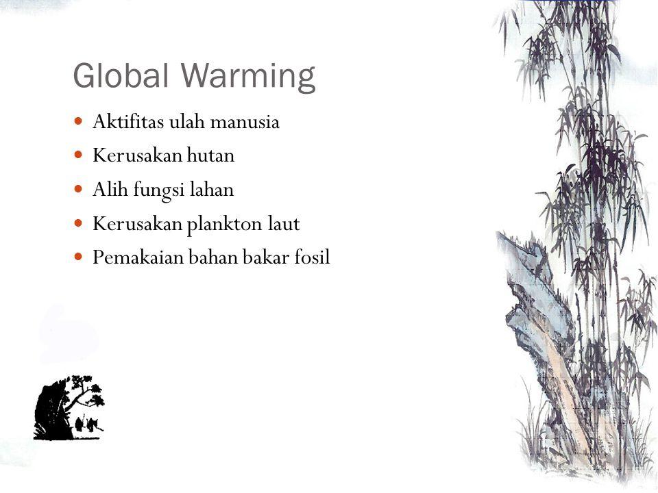 Global Warming Aktifitas ulah manusia Kerusakan hutan Alih fungsi lahan Kerusakan plankton laut Pemakaian bahan bakar fosil