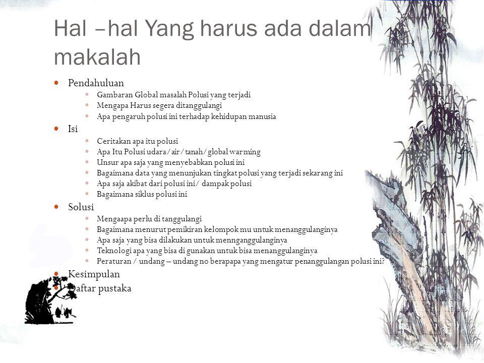 Tugas Kelompok Bikinlah Makalah mengenai Polusi / permasalahan Lingkungan Untuk Polusi Tanah  pengelolaan sampah Polusi Air  darat dan laut Polusi U