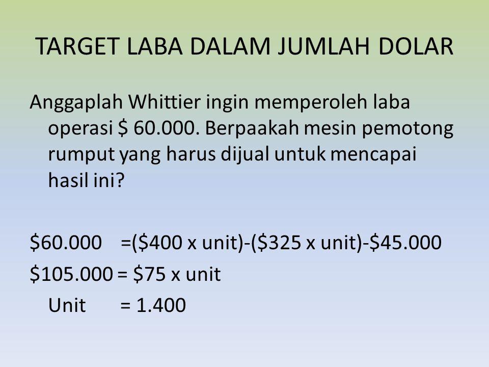 TARGET LABA DALAM JUMLAH DOLAR Anggaplah Whittier ingin memperoleh laba operasi $ 60.000. Berpaakah mesin pemotong rumput yang harus dijual untuk menc