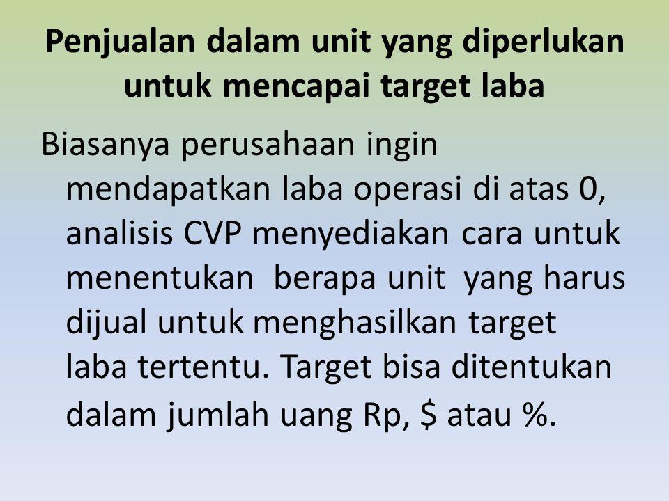 Penjualan dalam unit yang diperlukan untuk mencapai target laba Biasanya perusahaan ingin mendapatkan laba operasi di atas 0, analisis CVP menyediakan