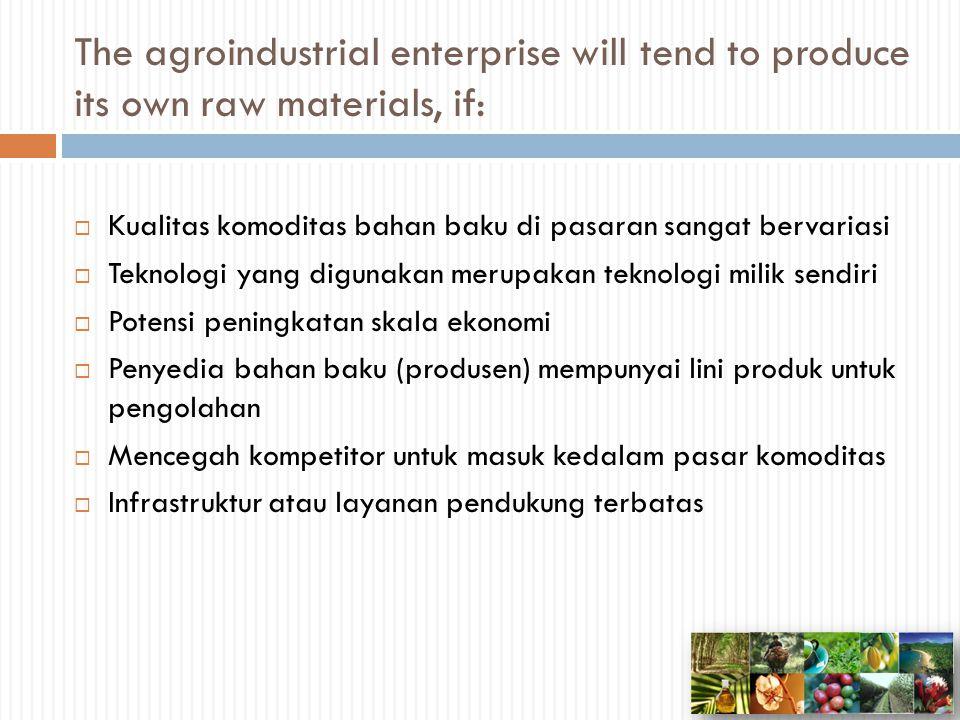 The agroindustrial enterprise will tend to buy raw materials under contract, if:  Komoditas bahan baku mempunyai kualitas yang bervariasi yang dipengaruhi oleh input pertanian  Pasar tidak kompetitif dengan pembeli dan penjual yang terbatas  Transportasi dasar dan infrastruktur perdagangan tersedia