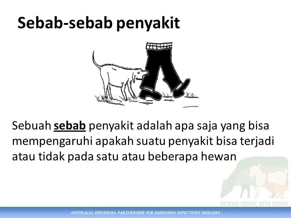 AUSTRALIA INDONESIA PARTNERSHIP FOR EMERGING INFECTIOUS DISEASES Sebab-sebab penyakit Sebuah sebab penyakit adalah apa saja yang bisa mempengaruhi apakah suatu penyakit bisa terjadi atau tidak pada satu atau beberapa hewan