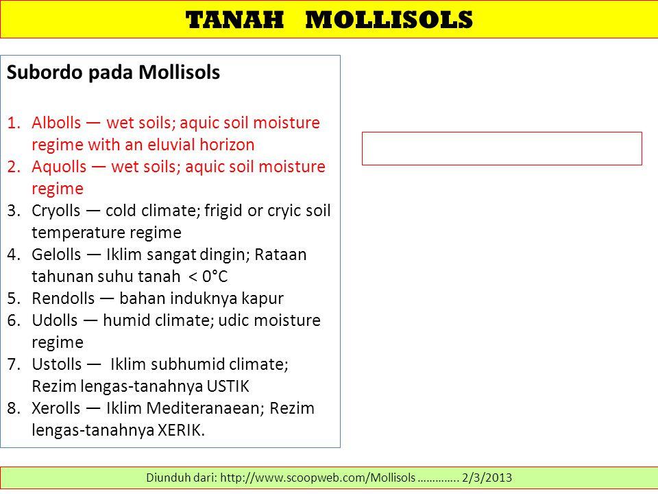 TANAH MOLLISOLS Diunduh dari: http://www.scoopweb.com/Mollisols ………….. 2/3/2013 Subordo pada Mollisols 1.Albolls — wet soils; aquic soil moisture regi