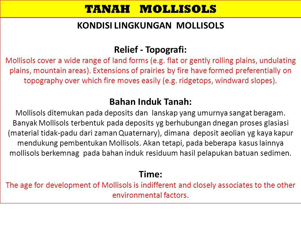 TANAH MOLLISOLS KONDISI LINGKUNGAN MOLLISOLS Relief - Topografi: Mollisols cover a wide range of land forms (e.g.