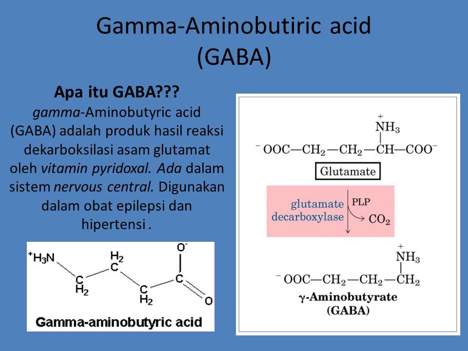 Gamma-Aminobutiric acid (GABA) Apa itu GABA??? gamma-Aminobutyric acid (GABA) adalah produk hasil reaksi dekarboksilasi asam glutamat oleh vitamin pyr