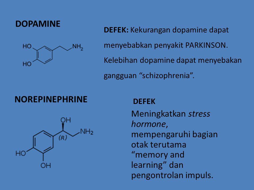 "DOPAMINE DEFEK: Kekurangan dopamine dapat menyebabkan penyakit PARKINSON. Kelebihan dopamine dapat menyebakan gangguan ""schizophrenia"". NOREPINEPHRINE"