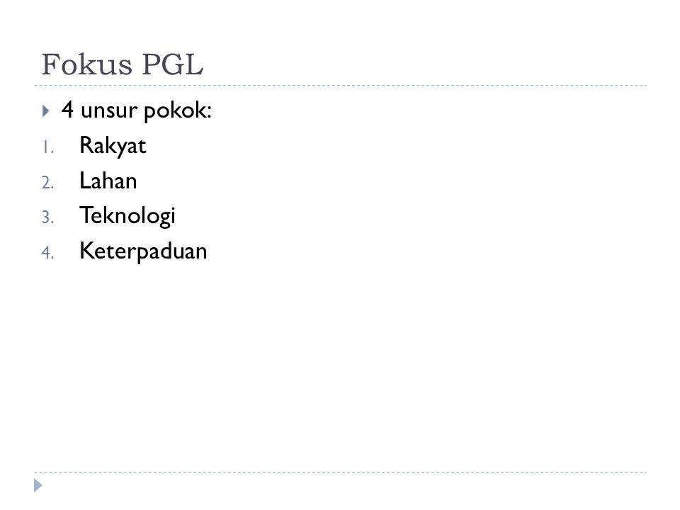 Fokus PGL  4 unsur pokok: 1. Rakyat 2. Lahan 3. Teknologi 4. Keterpaduan