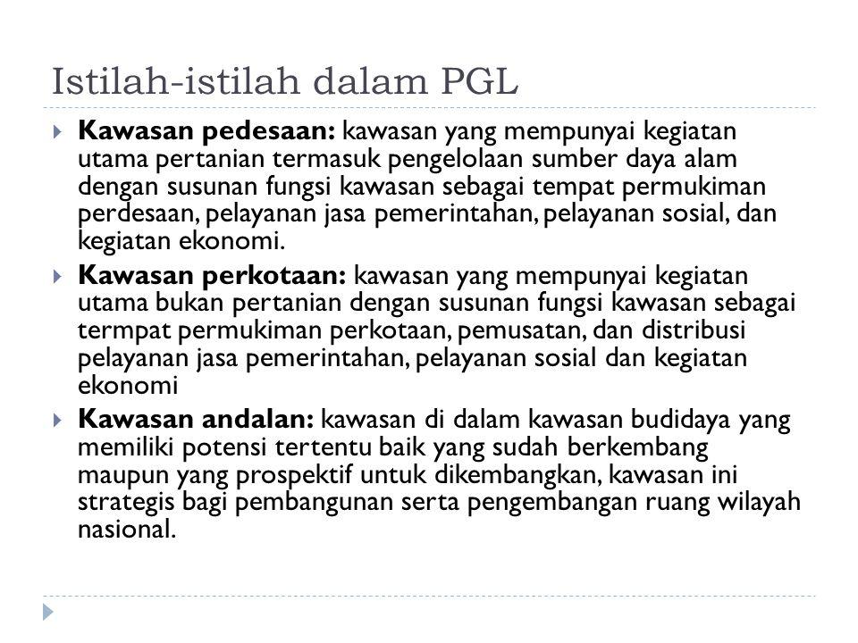 Istilah-istilah dalam PGL  Kawasan pedesaan: kawasan yang mempunyai kegiatan utama pertanian termasuk pengelolaan sumber daya alam dengan susunan fun