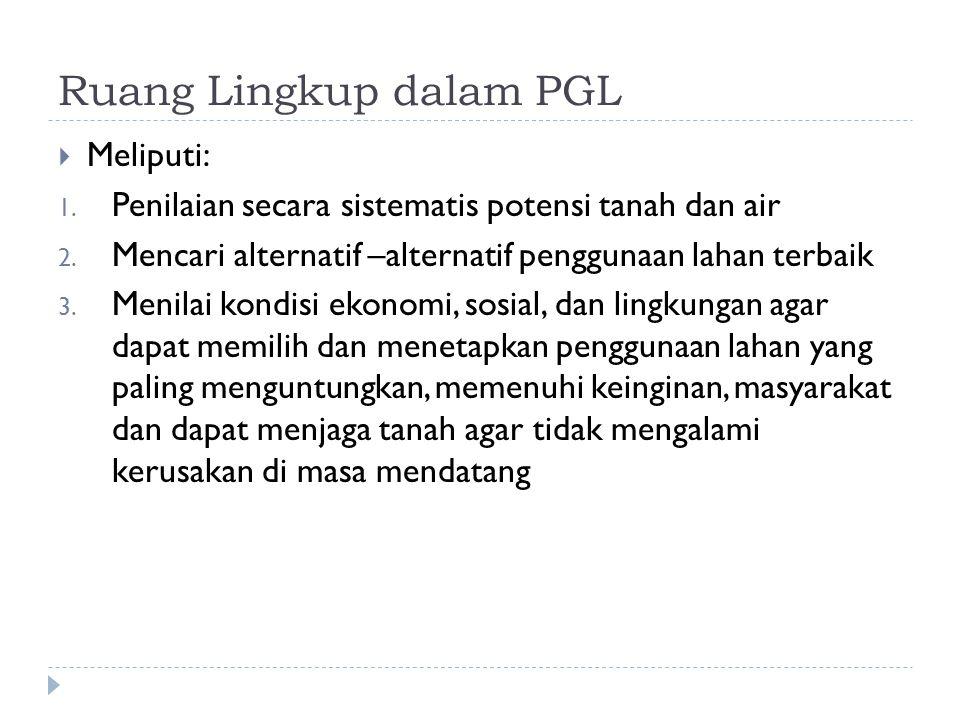 Ruang Lingkup dalam PGL  Meliputi: 1. Penilaian secara sistematis potensi tanah dan air 2. Mencari alternatif –alternatif penggunaan lahan terbaik 3.