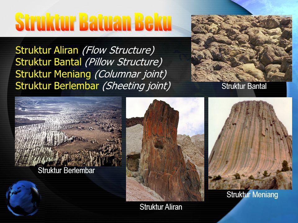 Struktur Aliran (Flow Structure) Struktur Bantal (Pillow Structure) Struktur Meniang (Columnar joint) Struktur Berlembar (Sheeting joint) Struktur Ban