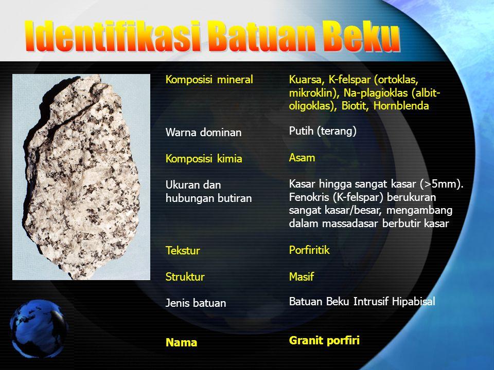 Komposisi mineral Warna dominan Komposisi kimia Ukuran dan hubungan butiran Tekstur Struktur Jenis batuan Nama Granit porfiri Porfiritik Batuan Beku I