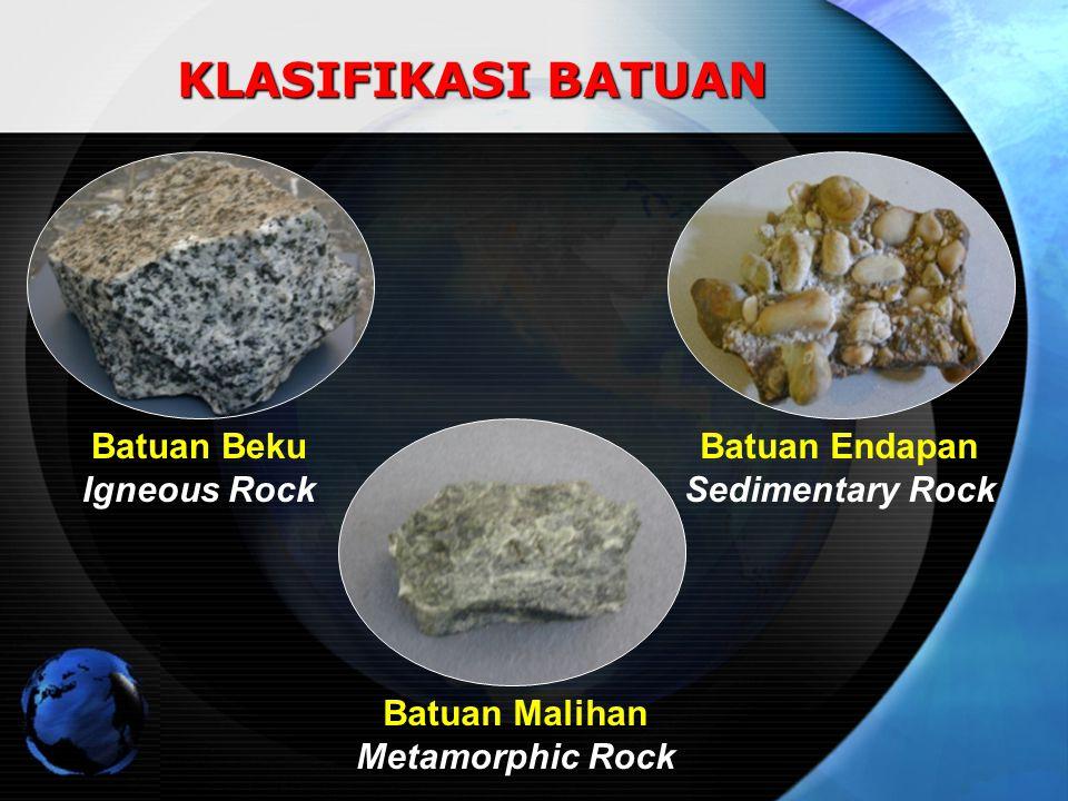 KLASIFIKASI BATUAN Batuan Beku Igneous Rock Batuan Endapan Sedimentary Rock Batuan Malihan Metamorphic Rock