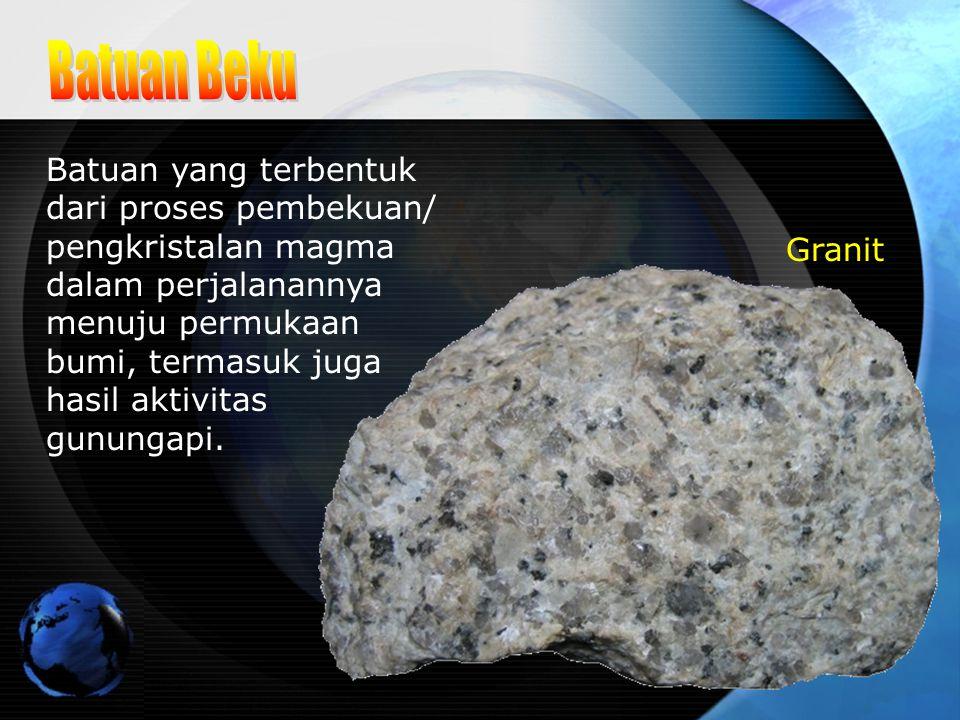Batuan yang terbentuk dari proses pembekuan/ pengkristalan magma dalam perjalanannya menuju permukaan bumi, termasuk juga hasil aktivitas gunungapi. G