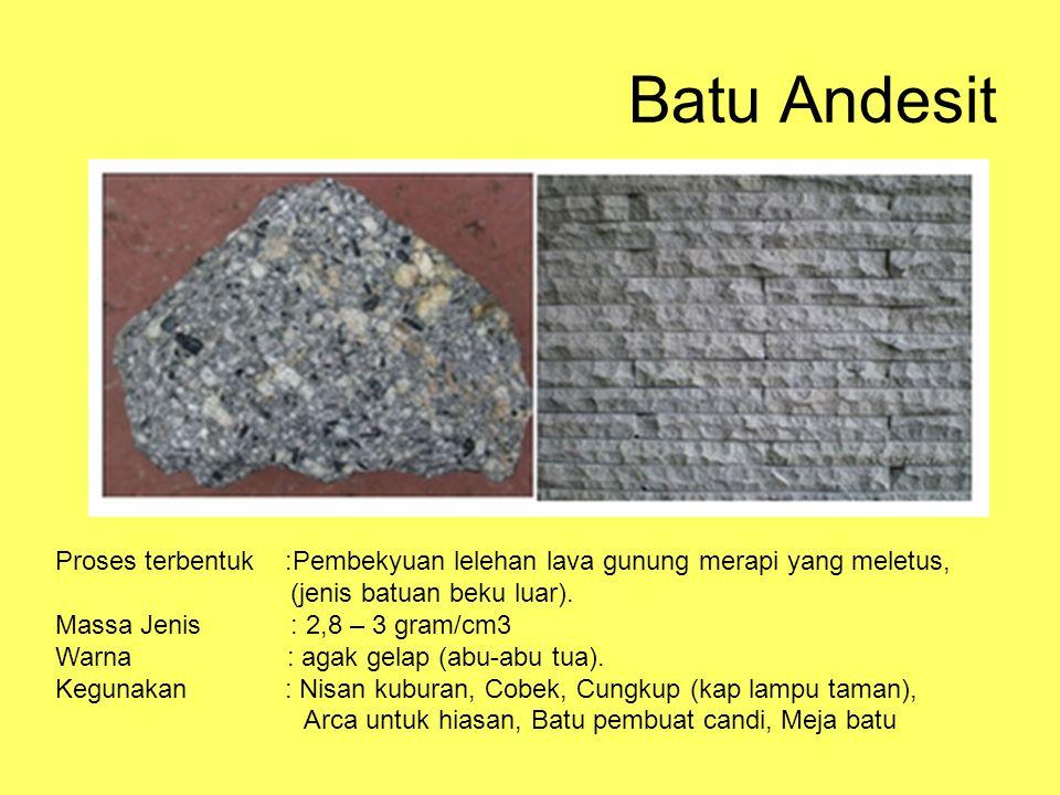 Batu Andesit Proses terbentuk :Pembekyuan lelehan lava gunung merapi yang meletus, (jenis batuan beku luar).