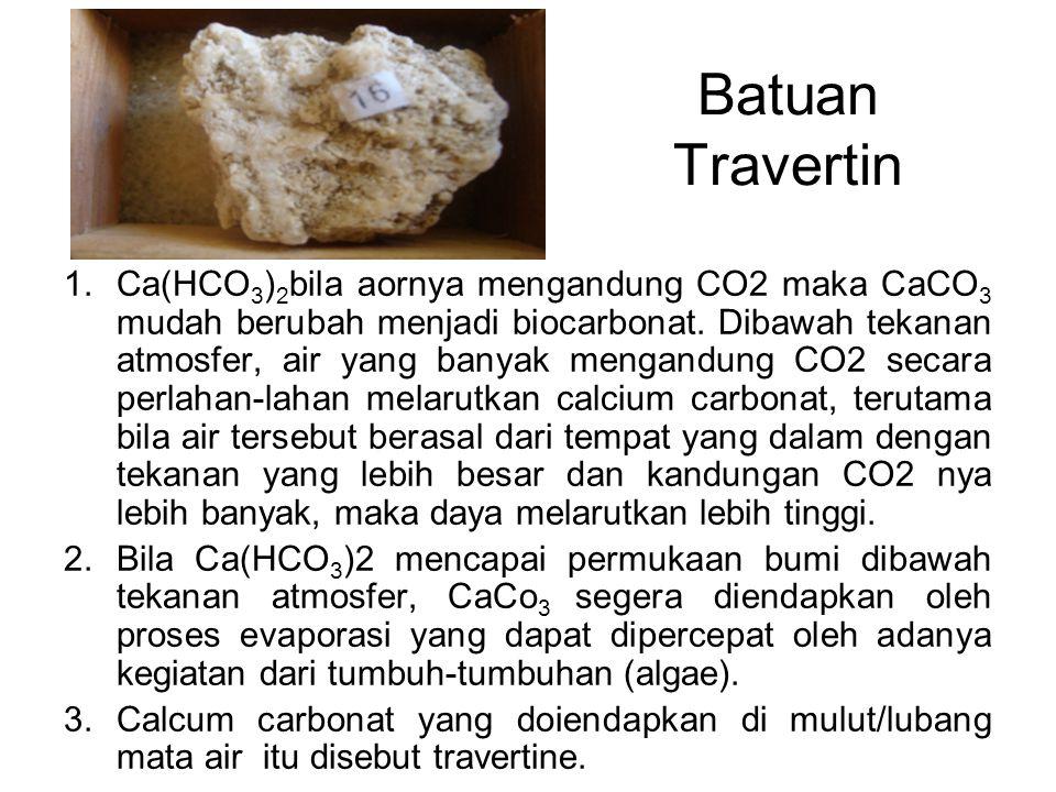 1.Ca(HCO 3 ) 2 bila aornya mengandung CO2 maka CaCO 3 mudah berubah menjadi biocarbonat.