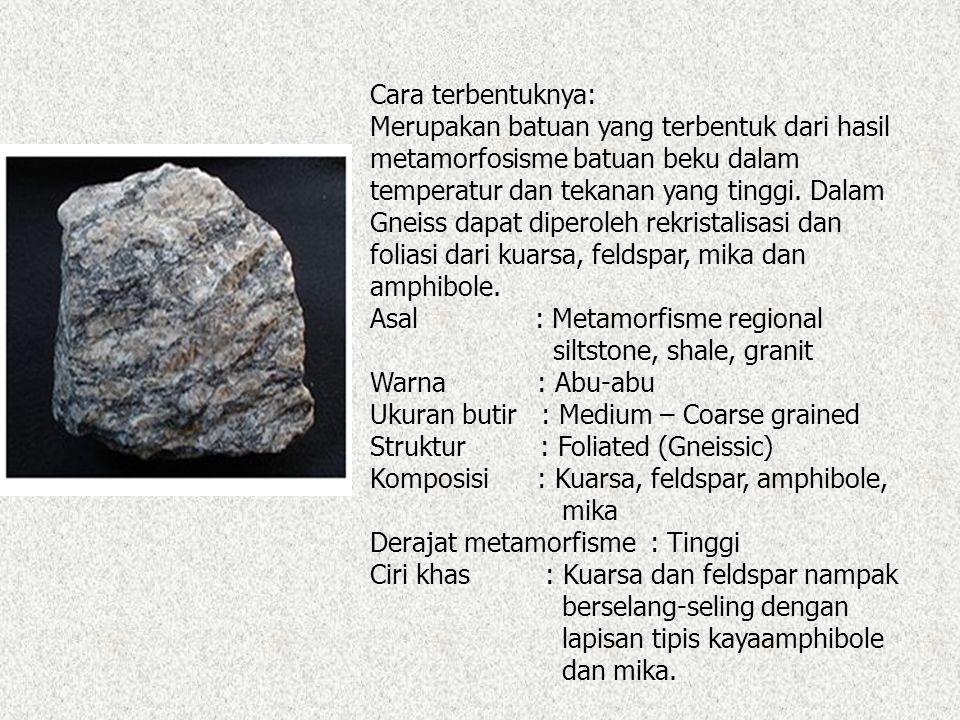 Cara terbentuknya: Merupakan batuan yang terbentuk dari hasil metamorfosisme batuan beku dalam temperatur dan tekanan yang tinggi.