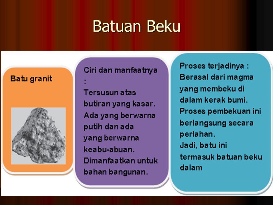 Batuan Granit Batuan Granit Proses terbentuk : Hasil pembekuan magma berkomposisi asam merupakan jenis batu beku dalam Massa jenis : sekitar 2,2 – 2,3 gram/cm3 Warna : putih, abu-abu, atau campuran keduanya.