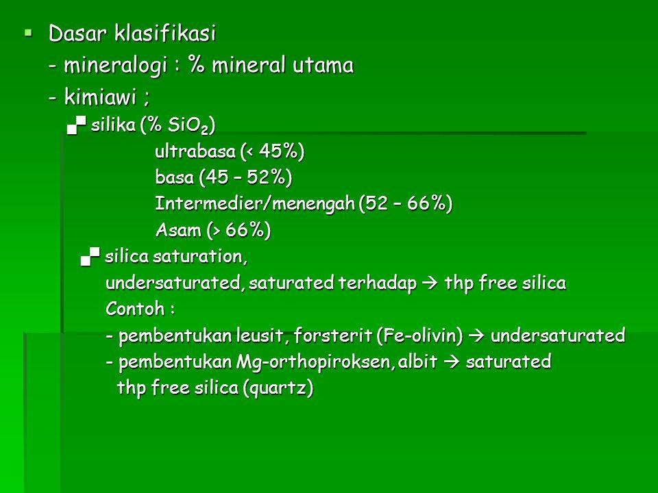  Dasar klasifikasi - mineralogi : % mineral utama - kimiawi ;  silika (% SiO 2 )  silika (% SiO 2 ) ultrabasa (< 45%) basa (45 – 52%) Intermedier/m
