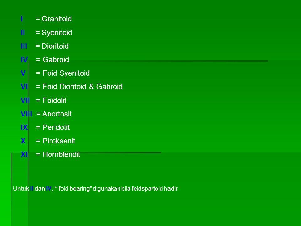 I = Granitoid II = Syenitoid III = Dioritoid IV = Gabroid V = Foid Syenitoid VI = Foid Dioritoid & Gabroid VII = Foidolit VIII = Anortosit IX = Peridotit X = Piroksenit XI = Hornblendit Untuk II dan IV, foid bearing digunakan bila feldspartoid hadir