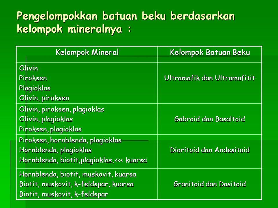 Pengelompokkan batuan beku berdasarkan kelompok mineralnya : Kelompok Mineral Kelompok Batuan Beku OlivinPiroksenPlagioklas Olivin, piroksen Ultramafik dan Ultramafitit Olivin, piroksen, plagioklas Olivin, plagioklas Piroksen, plagioklas Gabroid dan Basaltoid Piroksen, hornblenda, plagioklas Hornblenda, plagioklas Hornblenda, biotit,plagioklas, <<< kuarsa Dioritoid dan Andesitoid Hornblenda, biotit, muskovit, kuarsa Biotit, muskovit, k-feldspar, kuarsa Biotit, muskovit, k-feldspar Granitoid dan Dasitoid