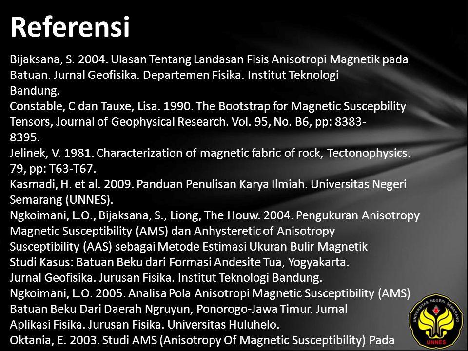 Referensi Bijaksana, S. 2004. Ulasan Tentang Landasan Fisis Anisotropi Magnetik pada Batuan. Jurnal Geofisika. Departemen Fisika. Institut Teknologi B