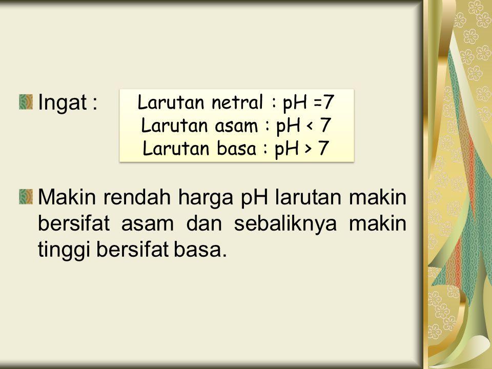 Ingat : Makin rendah harga pH larutan makin bersifat asam dan sebaliknya makin tinggi bersifat basa. Larutan netral : pH =7 Larutan asam : pH < 7 Laru