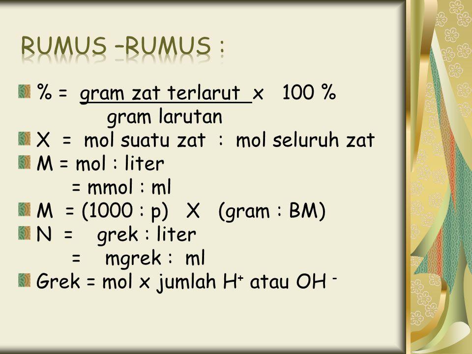 % = gram zat terlarut x 100 % gram larutan X = mol suatu zat : mol seluruh zat M = mol : liter = mmol : ml M = (1000 : p) X (gram : BM) N = grek : lit