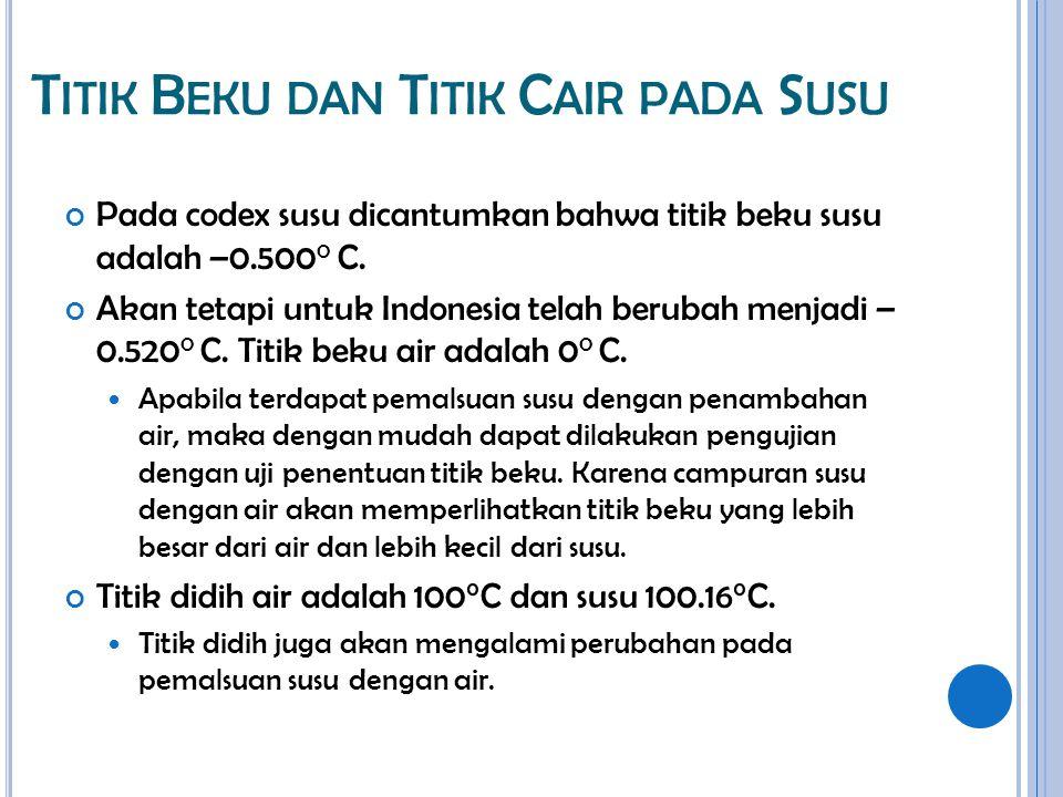 T ITIK B EKU DAN T ITIK C AIR PADA S USU Pada codex susu dicantumkan bahwa titik beku susu adalah –0.500 0 C. Akan tetapi untuk Indonesia telah beruba