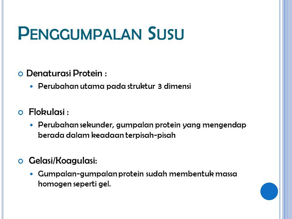 P ENGGUMPALAN S USU Denaturasi Protein : Perubahan utama pada struktur 3 dimensi Flokulasi : Perubahan sekunder, gumpalan protein yang mengendap berad
