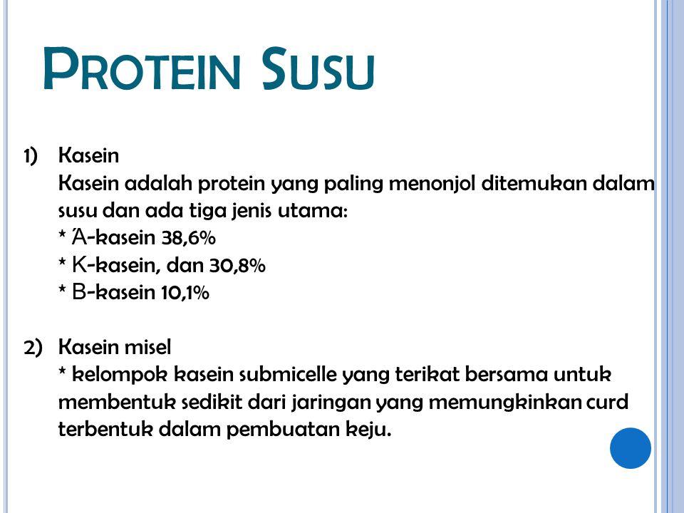 P ROTEIN S USU 1)Kasein Kasein adalah protein yang paling menonjol ditemukan dalam susu dan ada tiga jenis utama: * Ά -kasein 38,6% * Κ -kasein, dan 3