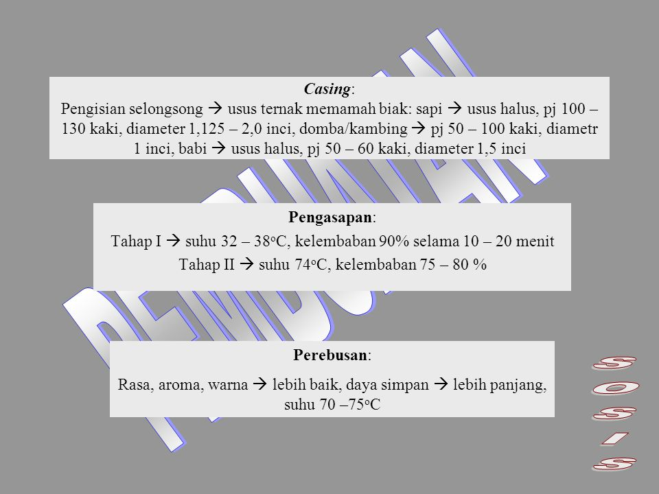 Casing: Pengisian selongsong  usus ternak memamah biak: sapi  usus halus, pj 100 – 130 kaki, diameter 1,125 – 2,0 inci, domba/kambing  pj 50 – 100 kaki, diametr 1 inci, babi  usus halus, pj 50 – 60 kaki, diameter 1,5 inci Pengasapan: Tahap I  suhu 32 – 38 o C, kelembaban 90% selama 10 – 20 menit Tahap II  suhu 74 o C, kelembaban 75 – 80 % Perebusan: Rasa, aroma, warna  lebih baik, daya simpan  lebih panjang, suhu 70 –75 o C