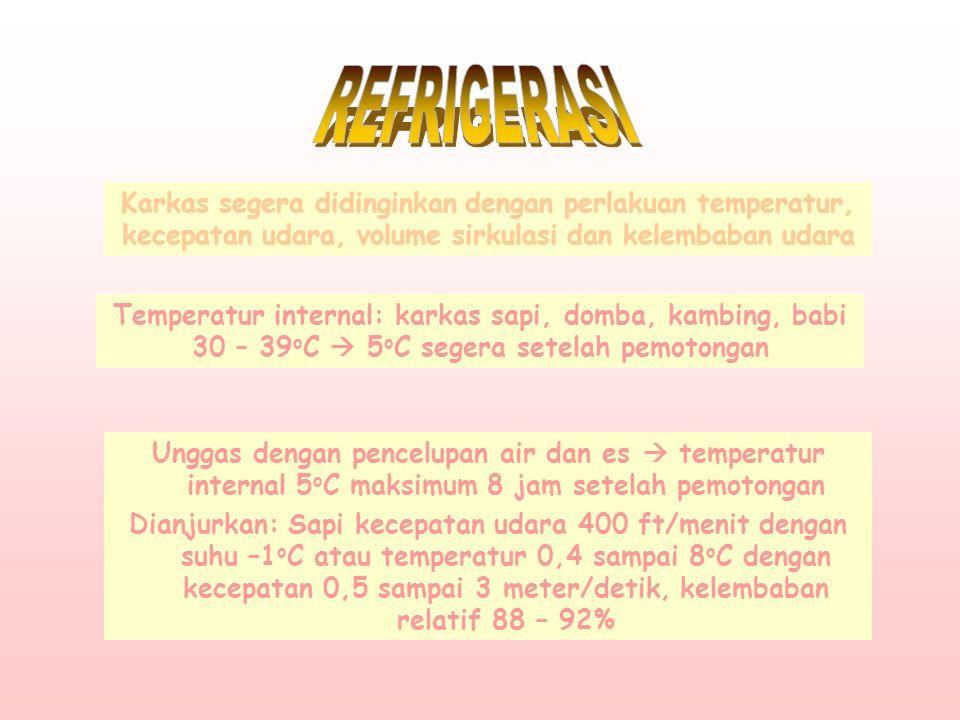 Unggas dengan pencelupan air dan es  temperatur internal 5 o C maksimum 8 jam setelah pemotongan Dianjurkan: Sapi kecepatan udara 400 ft/menit dengan suhu –1 o C atau temperatur 0,4 sampai 8 o C dengan kecepatan 0,5 sampai 3 meter/detik, kelembaban relatif 88 – 92% Karkas segera didinginkan dengan perlakuan temperatur, kecepatan udara, volume sirkulasi dan kelembaban udara Temperatur internal: karkas sapi, domba, kambing, babi 30 – 39 o C  5 o C segera setelah pemotongan