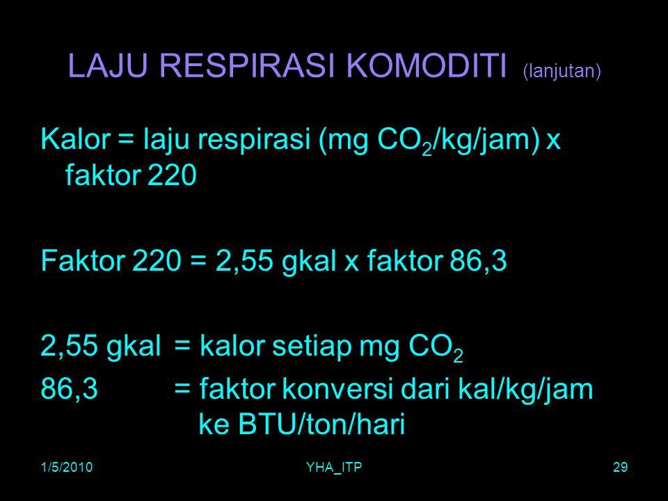 1/5/2010YHA_ITP29 LAJU RESPIRASI KOMODITI (lanjutan) Kalor = laju respirasi (mg CO 2 /kg/jam) x faktor 220 Faktor 220 = 2,55 gkal x faktor 86,3 2,55 g