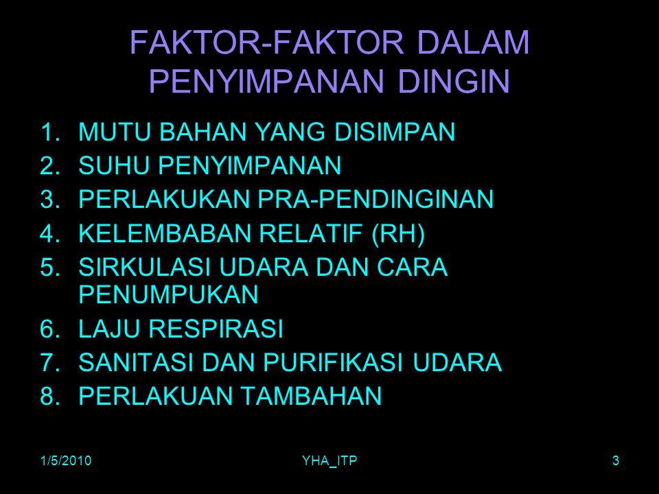 1/5/2010YHA_ITP3 FAKTOR-FAKTOR DALAM PENYIMPANAN DINGIN 1.MUTU BAHAN YANG DISIMPAN 2.SUHU PENYIMPANAN 3.PERLAKUKAN PRA-PENDINGINAN 4.KELEMBABAN RELATI
