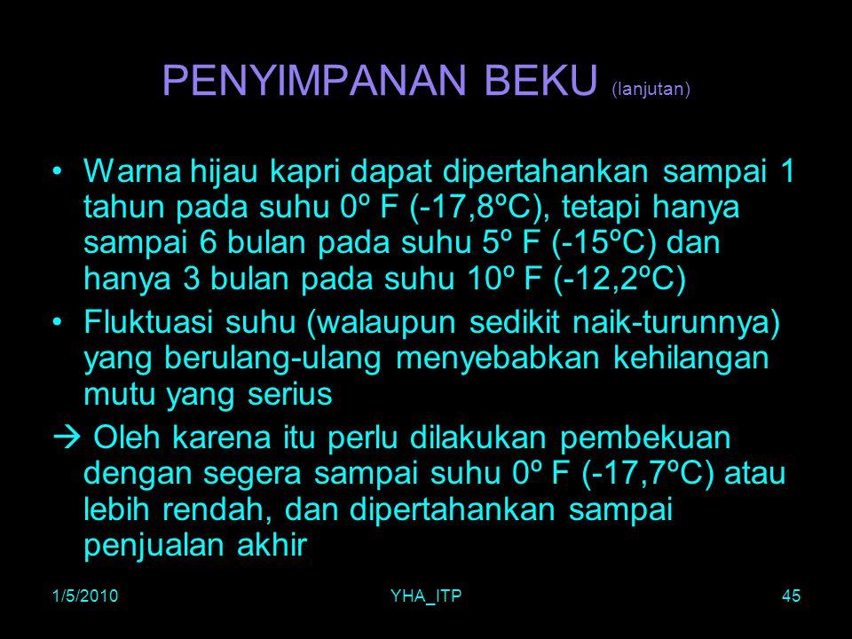 1/5/2010YHA_ITP45 PENYIMPANAN BEKU (lanjutan) Warna hijau kapri dapat dipertahankan sampai 1 tahun pada suhu 0º F (-17,8ºC), tetapi hanya sampai 6 bul