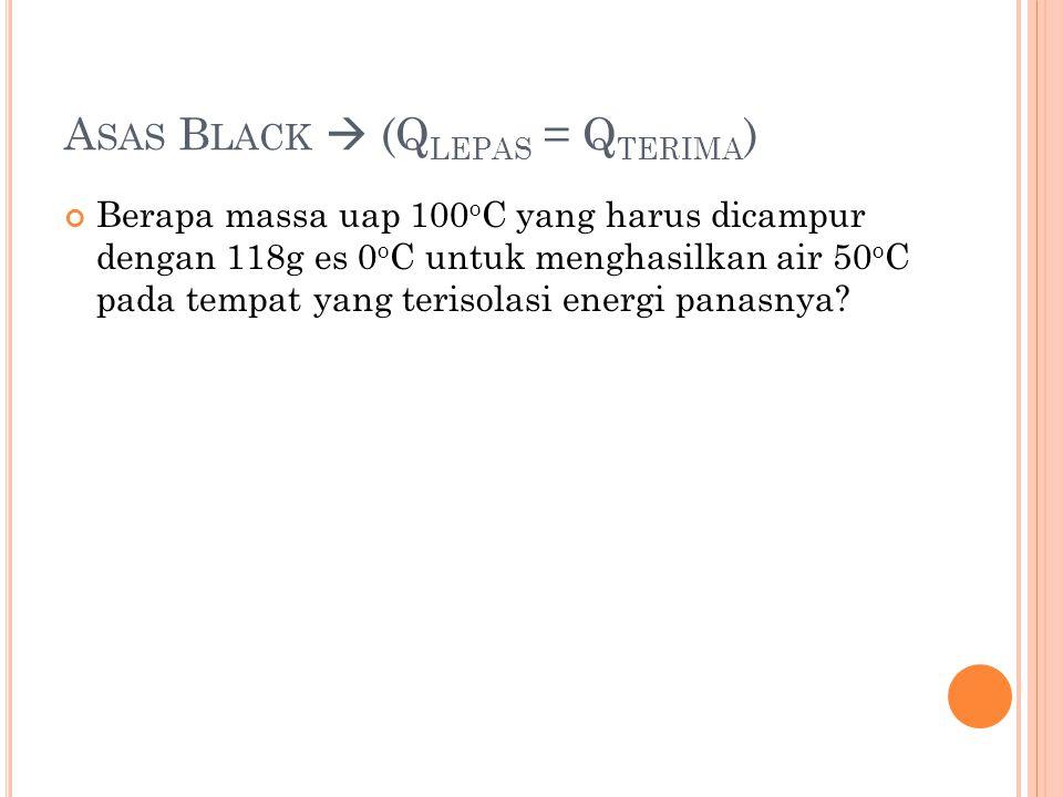 A SAS B LACK  (Q LEPAS = Q TERIMA ) Berapa massa uap 100 o C yang harus dicampur dengan 118g es 0 o C untuk menghasilkan air 50 o C pada tempat yang terisolasi energi panasnya?