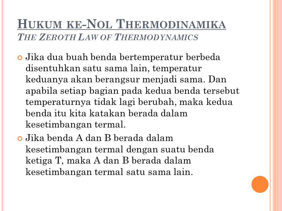 H UKUM KE -N OL T HERMODINAMIKA T HE Z EROTH L AW OF T HERMODYNAMICS Jika dua buah benda bertemperatur berbeda disentuhkan satu sama lain, temperatur keduanya akan berangsur menjadi sama.