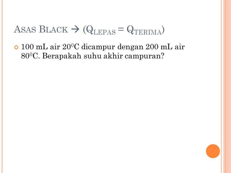 A SAS B LACK  (Q LEPAS = Q TERIMA ) 100 mL air 20 0 C dicampur dengan 200 mL air 80 0 C. Berapakah suhu akhir campuran?