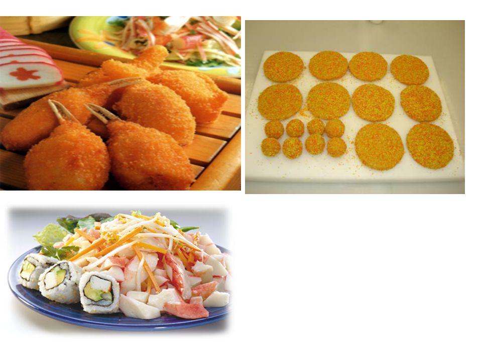 Contoh formula kamaboko –Surimi: 76 – 84% –Gula: 11.9 – 19.5% –Sweet sake: 4.8 – 6.5% –Garam: 4.2 – 5.3% –MSG: 1.2 – 2.0% –Pati kentang: 0 – 6.5% –Putih telur sedikit