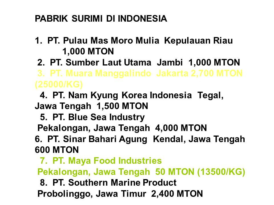 PABRIK SURIMI DI INDONESIA 1. PT. Pulau Mas Moro Mulia Kepulauan Riau 1,000 MTON 2. PT. Sumber Laut Utama Jambi 1,000 MTON 3. PT. Muara Manggalindo Ja