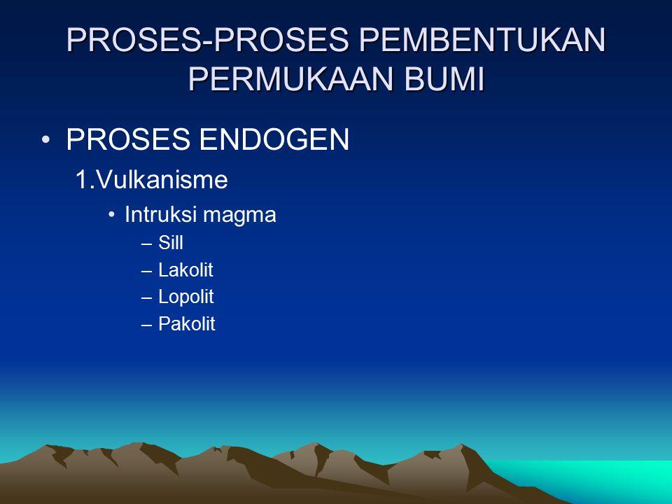 PROSES-PROSES PEMBENTUKAN PERMUKAAN BUMI PROSES ENDOGEN 1.Vulkanisme Intruksi magma –Sill –Lakolit –Lopolit –Pakolit