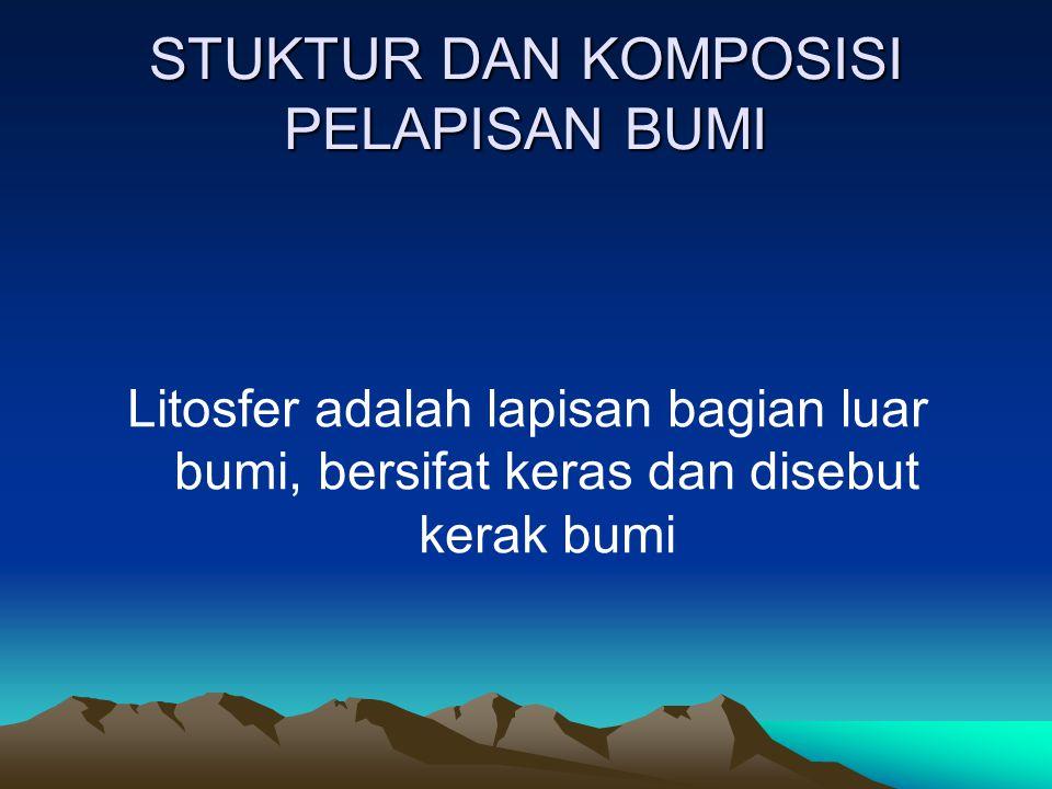 STUKTUR DAN KOMPOSISI PELAPISAN BUMI Litosfer adalah lapisan bagian luar bumi, bersifat keras dan disebut kerak bumi