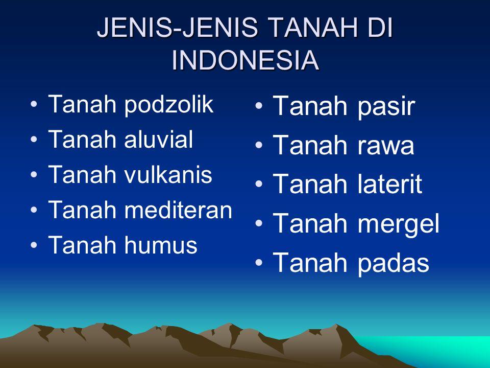 JENIS-JENIS TANAH DI INDONESIA Tanah podzolik Tanah aluvial Tanah vulkanis Tanah mediteran Tanah humus Tanah pasir Tanah rawa Tanah laterit Tanah merg