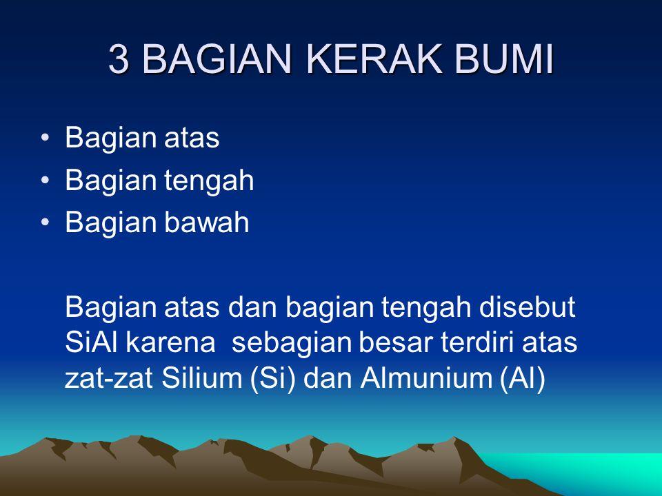 3 BAGIAN KERAK BUMI Bagian atas Bagian tengah Bagian bawah Bagian atas dan bagian tengah disebut SiAl karena sebagian besar terdiri atas zat-zat Siliu