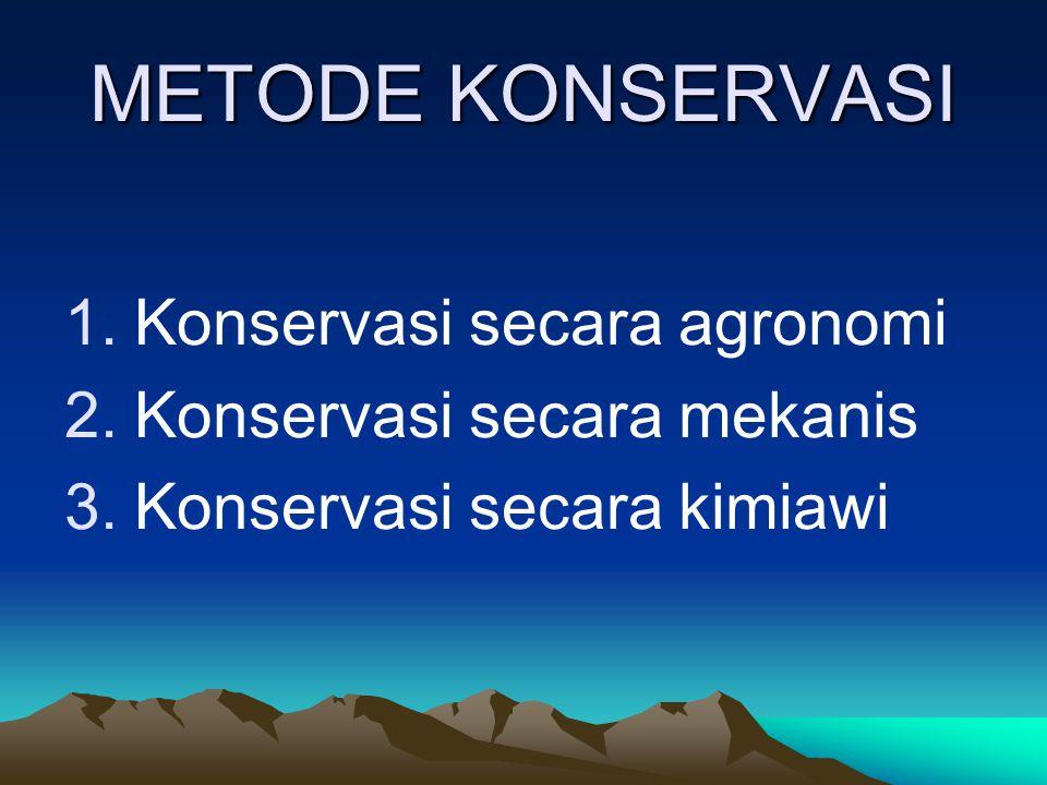 METODE KONSERVASI 1.Konservasi secara agronomi 2.Konservasi secara mekanis 3.Konservasi secara kimiawi